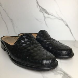 Orvis Black Leather Woven Mules 6.5B
